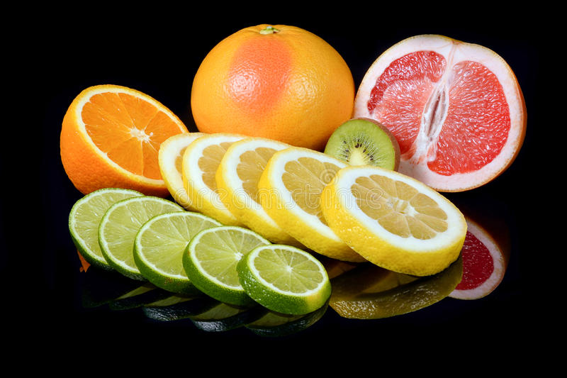 Download Fresh Citrus Isolated On Black Background Stock Photo - Image of color, circle: 83702712