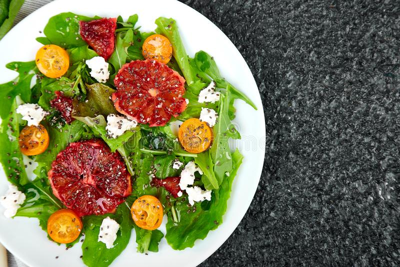 Fresh Citrus Salad. Vegan, vegetarian, clean eating, dieting, food concept royalty free stock photo