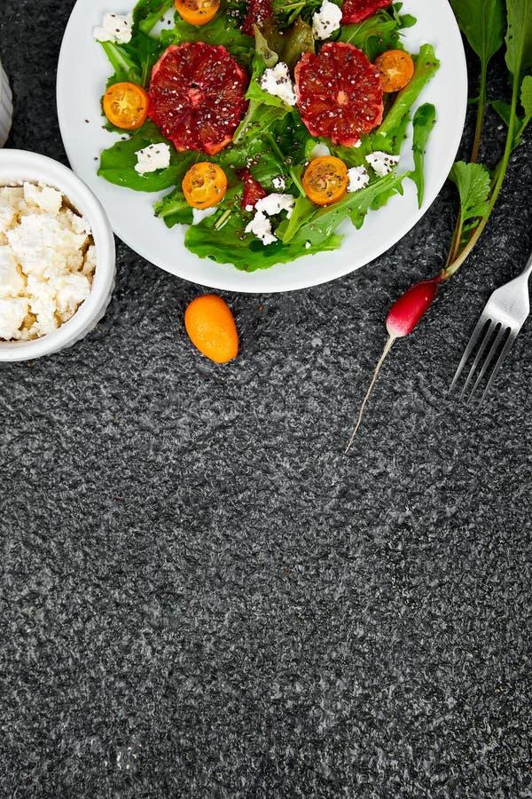 Fresh Citrus Salad. Vegan, vegetarian, clean eating, dieting, food concept royalty free stock images