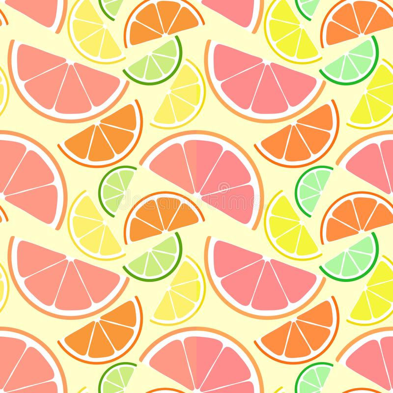 Fresh citrus seamless pattern set. Flying slices of lime, lemon, orange and grapefruit on light background. Summer ornament royalty free illustration