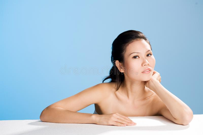 Fresh clean face of Young woman stock images