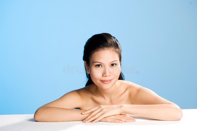 Fresh clean face of Young woman stock image