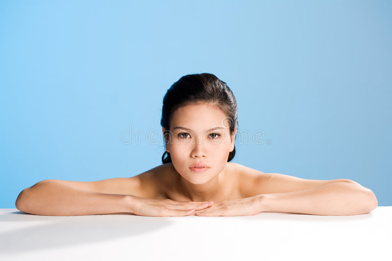 Fresh clean face of Young woman royalty free stock photography