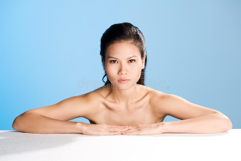 Fresh clean face of Young woman royalty free stock photos