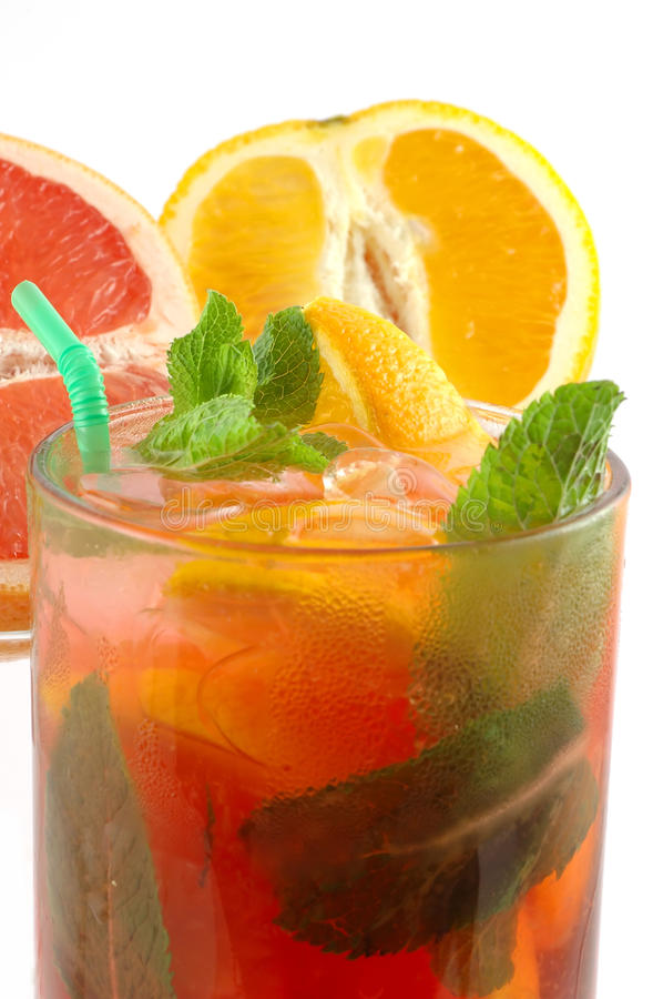 Download Fresh Cocktail With An Orange And Mint Stock Image - Image: 14343727