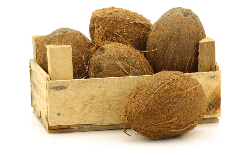Fresh Coconuts In A Wooden Crate Royalty Free Stock Image