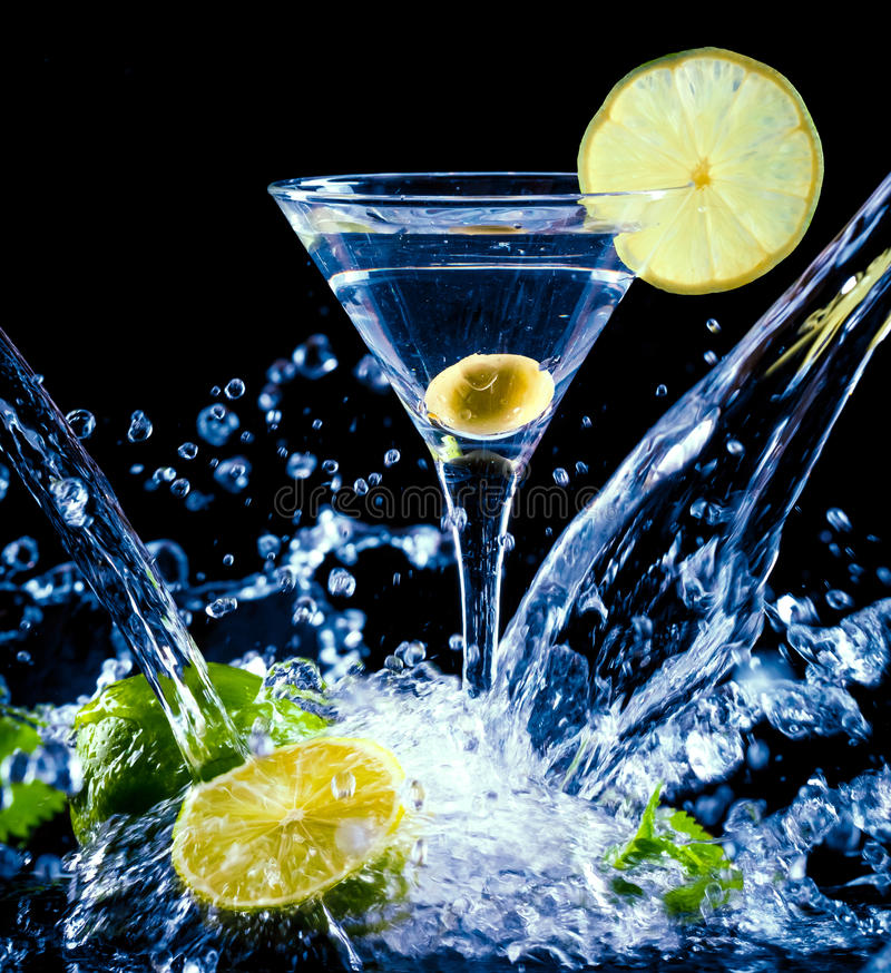 Fresh coctail. On the black background royalty free stock photo