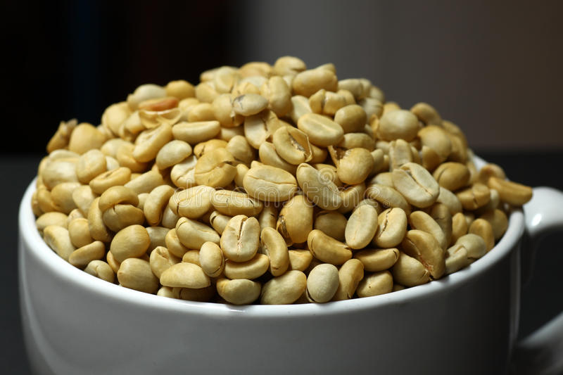 Fresh coffee beans not roast stock image