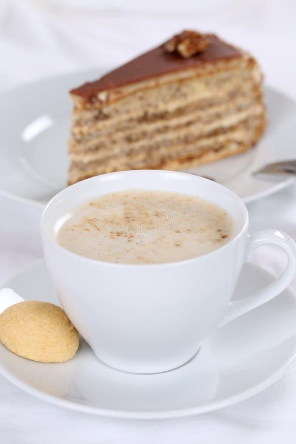 Fresh coffee and cake tart dessert. Sweet pastry stock image