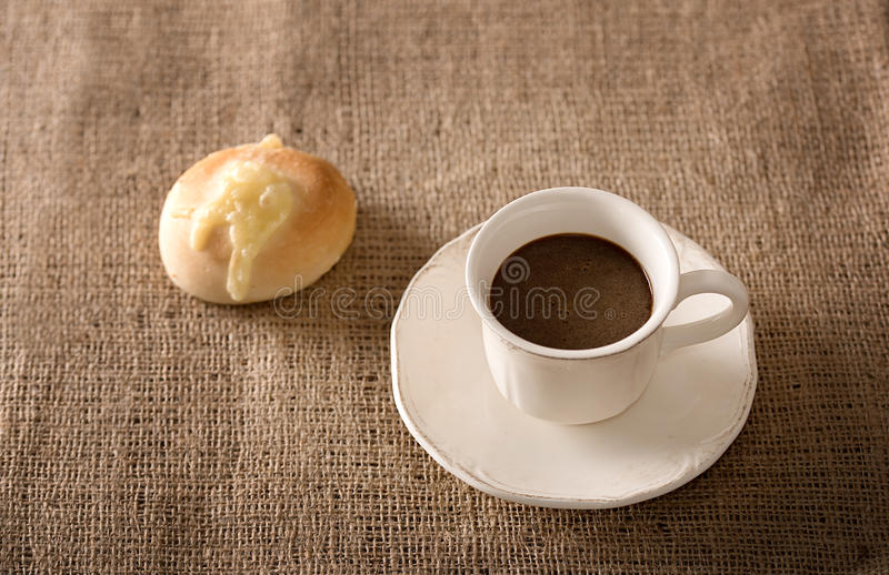 Fresh coffee and cheese bread stock photo