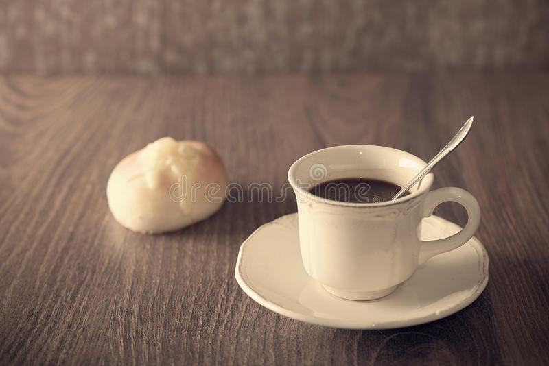 Fresh coffee and cheese bread stock image