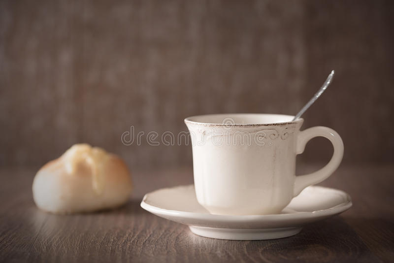 Fresh coffee and cheese bread royalty free stock photography