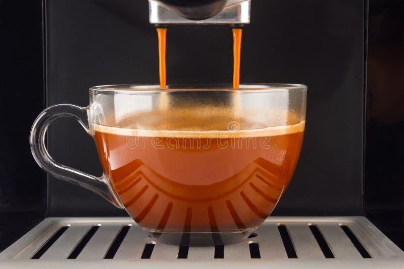 Fresh coffee prepared in the machine. Espresso glass cup stock photo