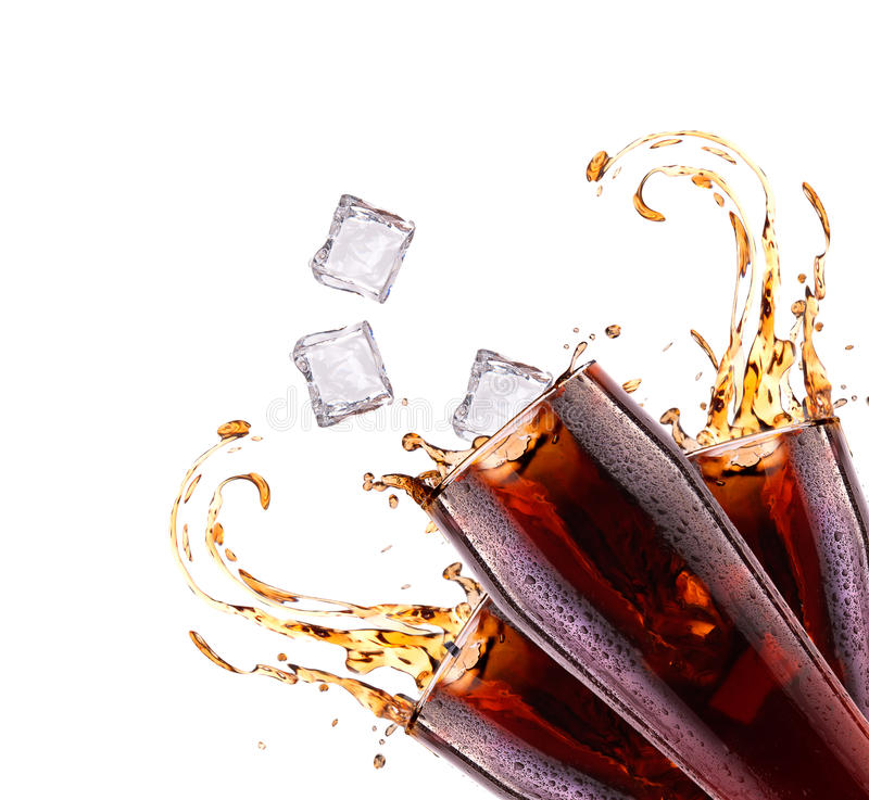 Fresh cola drink background with splash stock image