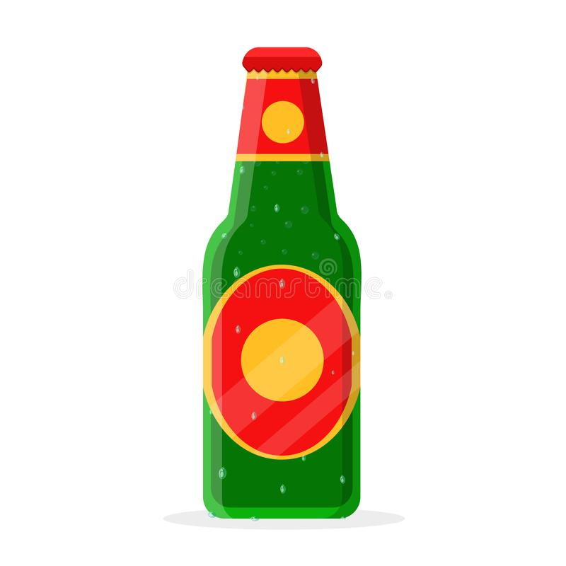 Closed bottle of beer. Fresh cold damp humid closed bottle of beer, ale, malt, suds, soda in green, yellow, red glass of label, cover, cap, top. Modern flat royalty free illustration