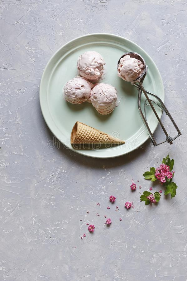 Fresh and cold ice-cream in green plate with pink flowers on grey table. Top view, close up on wooden background. stock photo