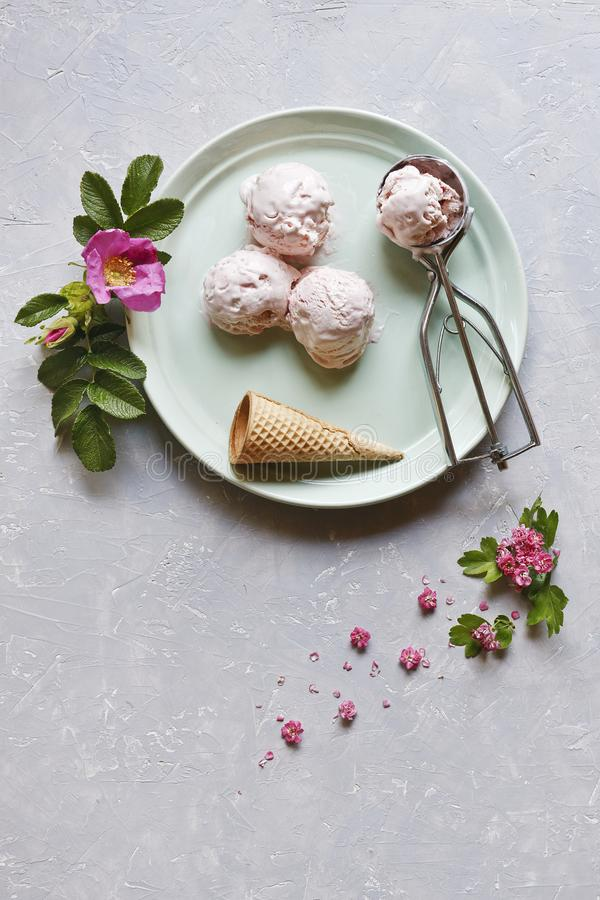 Fresh and cold ice-cream in green plate with pink flowers on grey table. Top view, close up on wooden background. royalty free stock photography