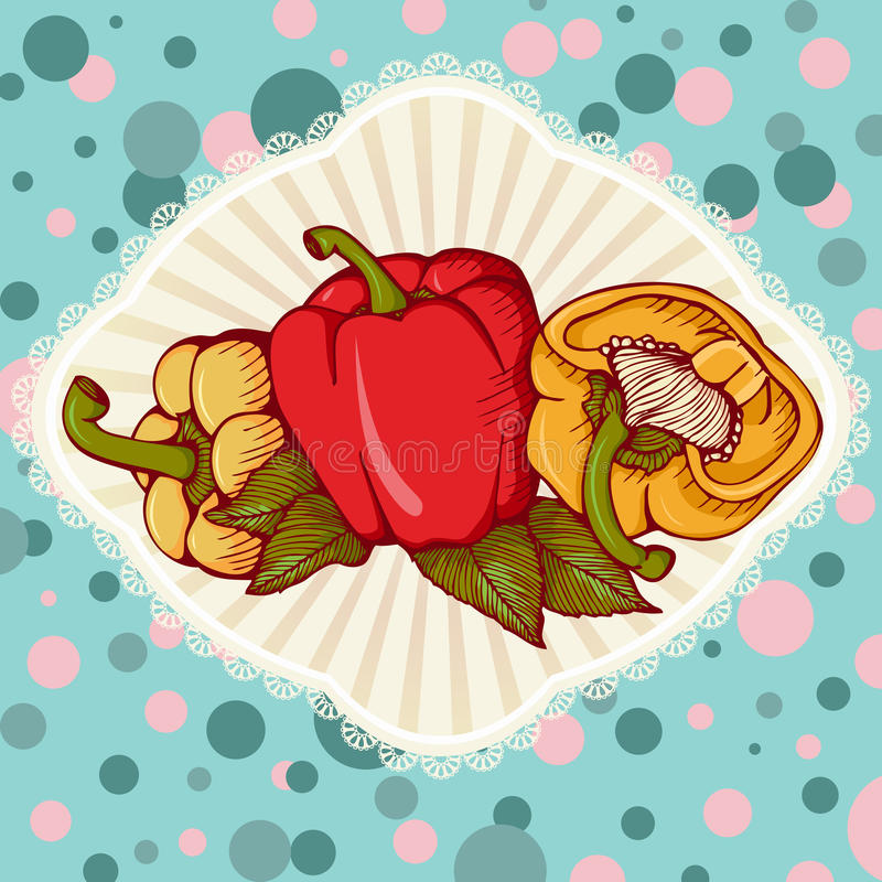 Fresh colored yellow, red, orange sweet bulgarian bell peppers, royalty free illustration
