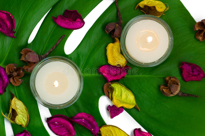 Fresh colorful composition of two burning candles, fragrant potpourri on monstera leaf royalty free stock photo