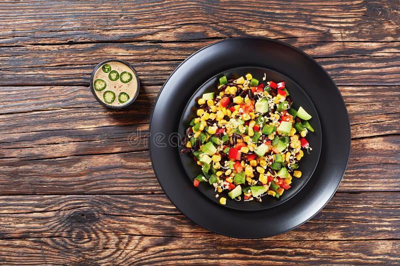 Fresh colorful mexican style salad, top view royalty free stock image