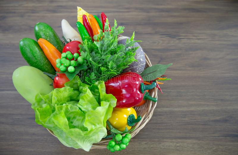Fresh colorful organic vegetables in basket stock photos