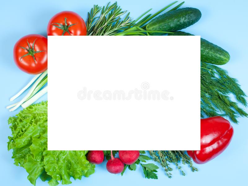 Fresh colorful organic vegetables captured from above top view, flat lay isolated on a blue background. Layout with free copy royalty free stock photo