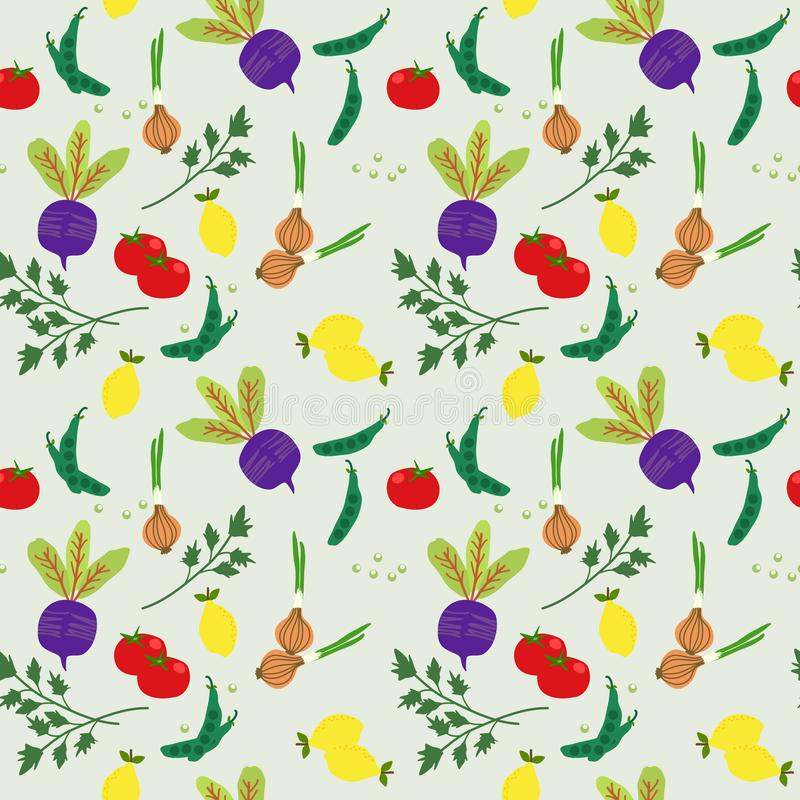 Fresh colorful vegetable seamless pattern. Beetroot, food, kid, children, healthy, kitchen, texture, abstract, agriculture, art, background, beautiful, carrot royalty free stock image