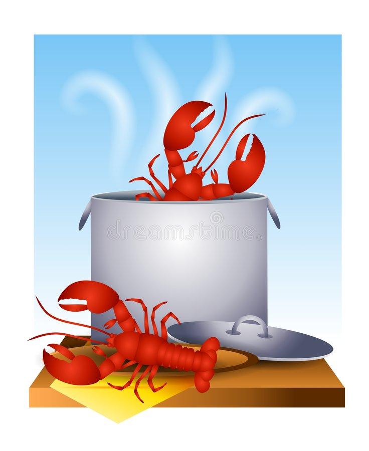 Fresh Cooked Lobster in The Pot. An illustration featuring fresh cooked lobster in the pot and on a plate royalty free illustration