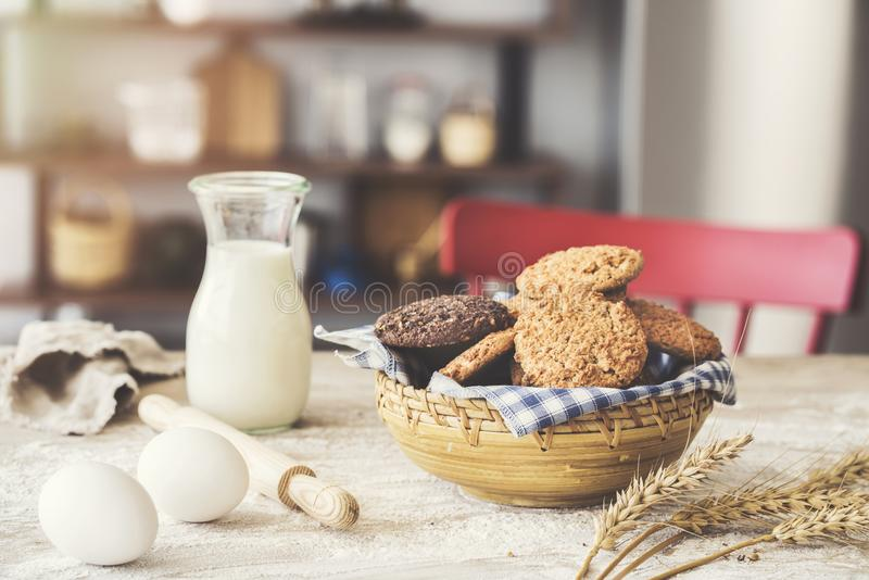 Fresh cookies on kitchen table stock photography