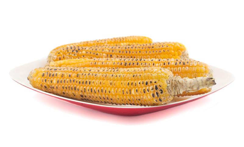 Sweet Corn. Fresh corn on cobs on wooden table, closeup, top view stock photography