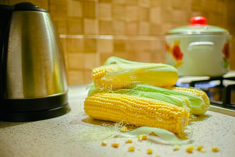 Fresh corn in the kitchen. Corncob. Rustic style.  royalty free stock photo