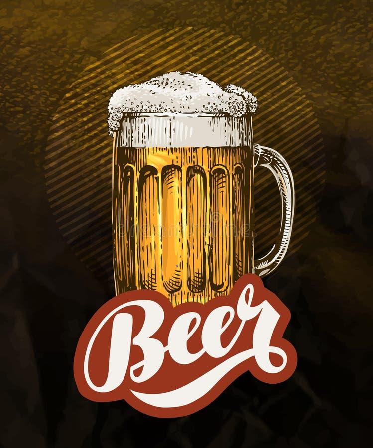 Fresh craft beer in glass mug. Vintage poster for cold ale. Vector illustration royalty free illustration