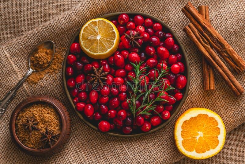 Fresh cranberries, cinnamon, anise, orange, brown sugar, rosemary, and lemon close up royalty free stock photography