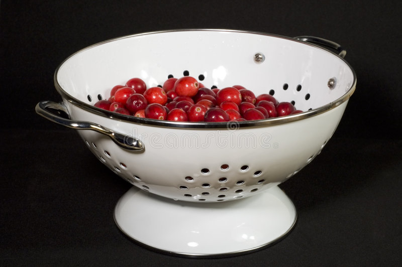 Fresh Cranberries In Colander Royalty Free Stock Image