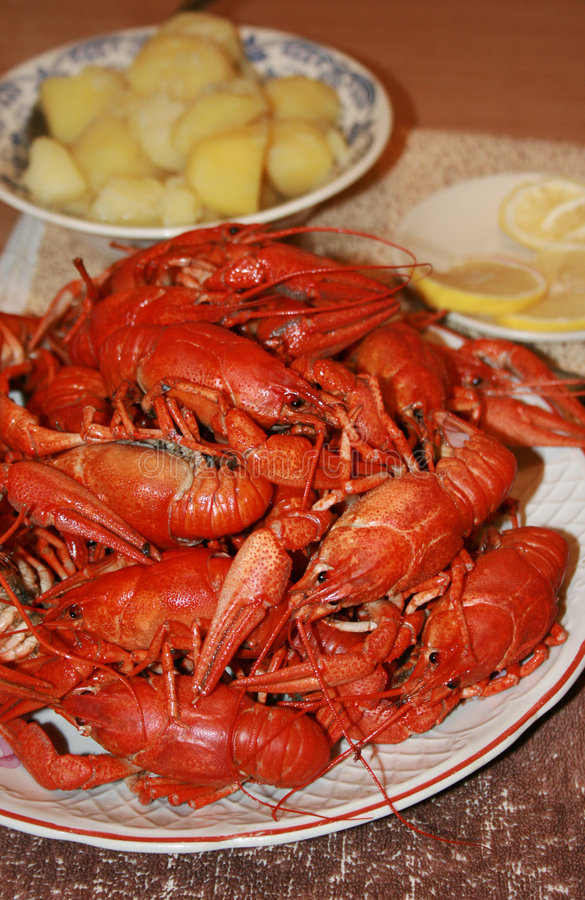 Download Fresh Crawfish With Garnish Stock Image - Image: 7076875