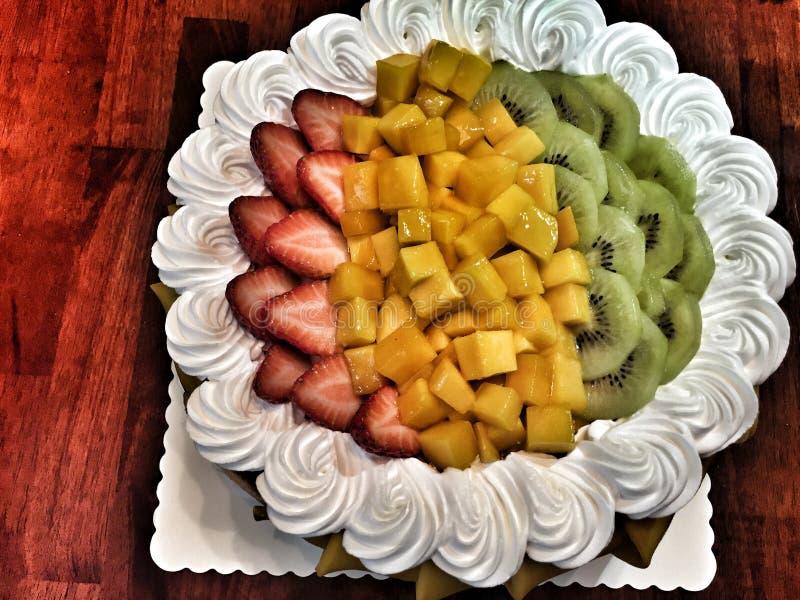 Fresh Cream Mix Fruit Cake stock photos