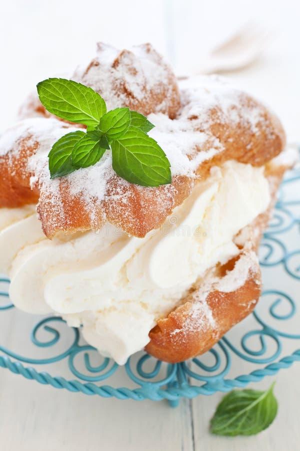 Download Fresh cream puff stock photo. Image of cake, plate, sweet - 24375376