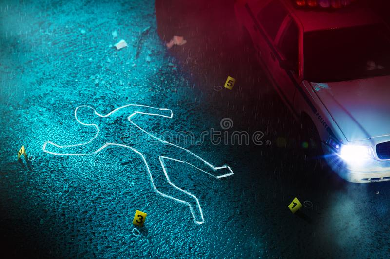 Fresh crime scene with body silhouette royalty free stock images
