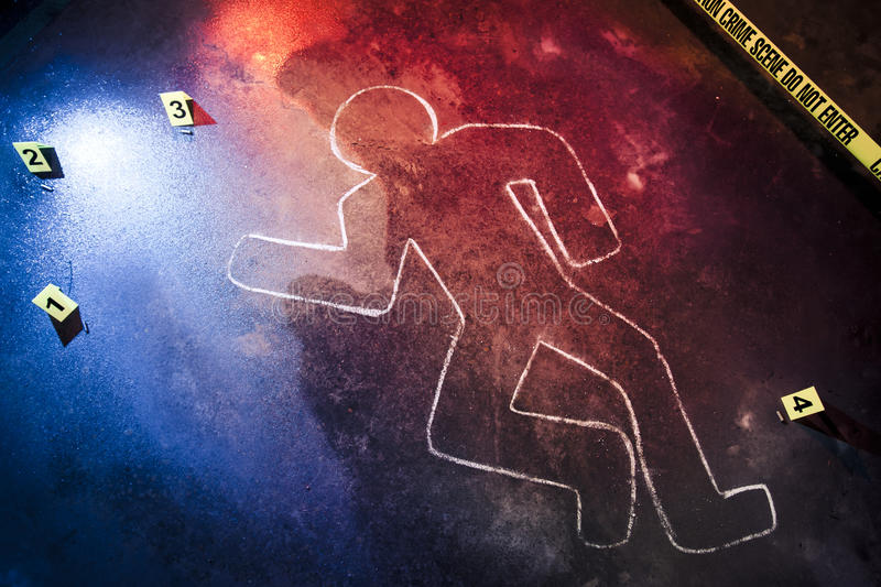 Fresh crime scene with yellow tape at night stock photos