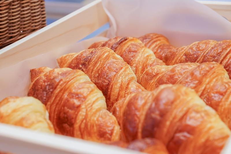Fresh croissant in the basket, ready to serve royalty free stock photos