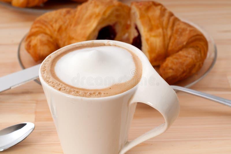 Fresh croissant french brioche and coffee