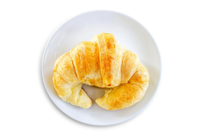 Fresh croissant isolated on white background stock photography