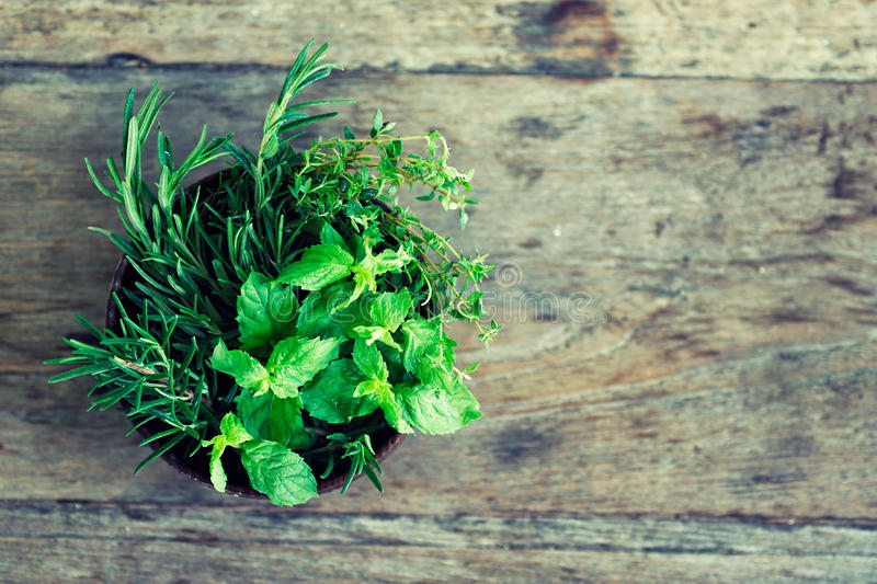 Fresh crop of mint, thyme, rosemary in bowl on wooden table royalty free stock image