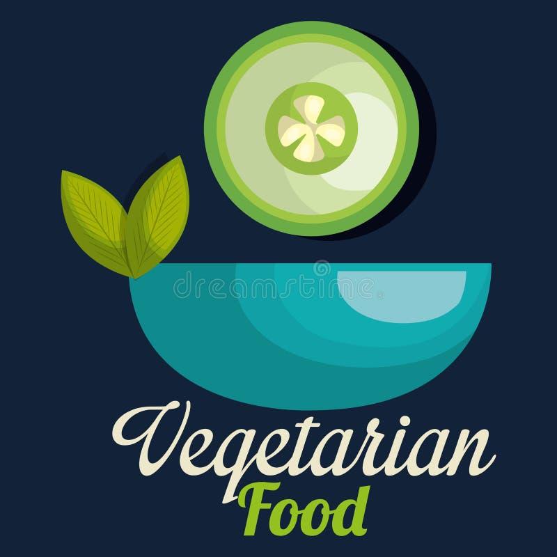 Fresh cucumber in bowl vegetarian food vector illustration