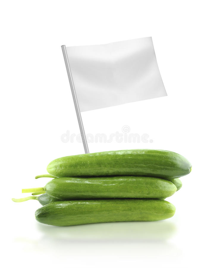 Fresh Cucumber with flag. Healthy and organic food concept. Fresh Cucumber with flag showing the benefits or the price of fruits royalty free stock photo