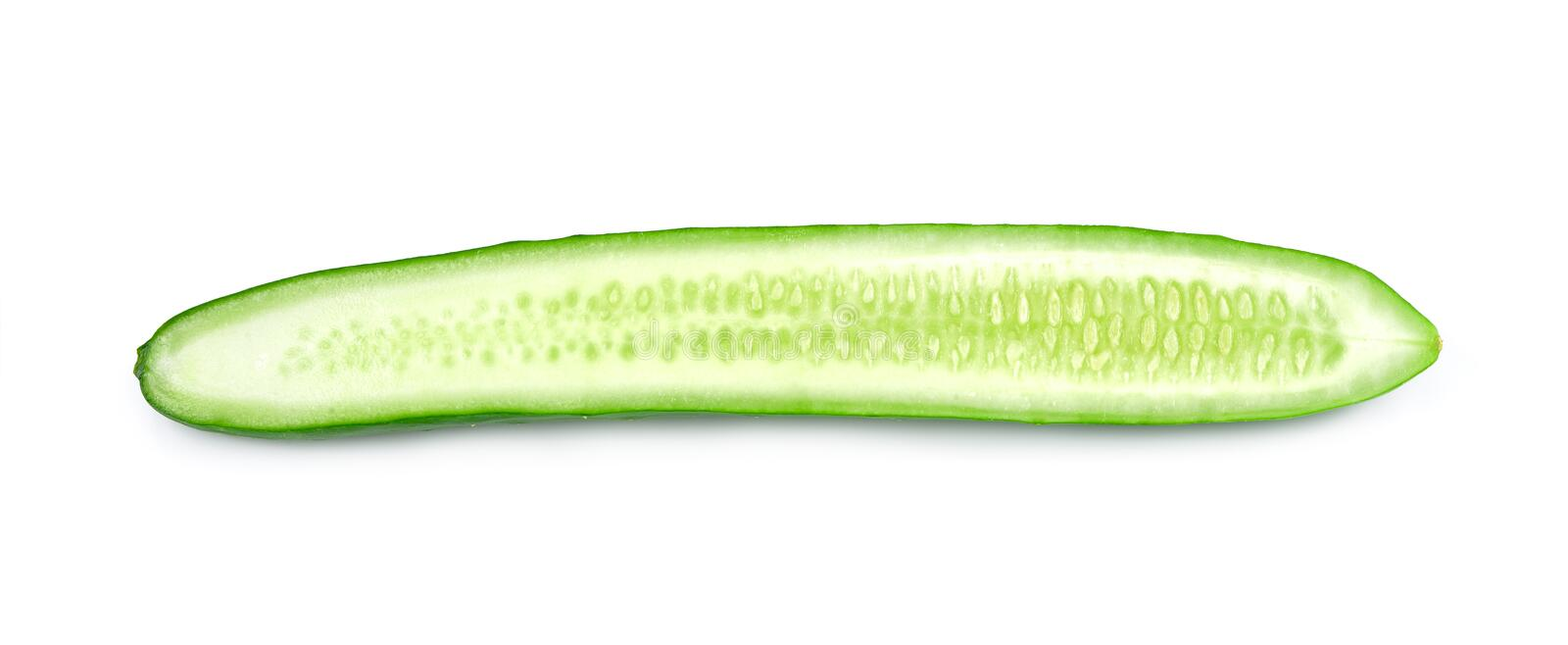 Fresh cucumber with half slice isolated on white background, Cucumber vegetable closeup isolated.  stock images