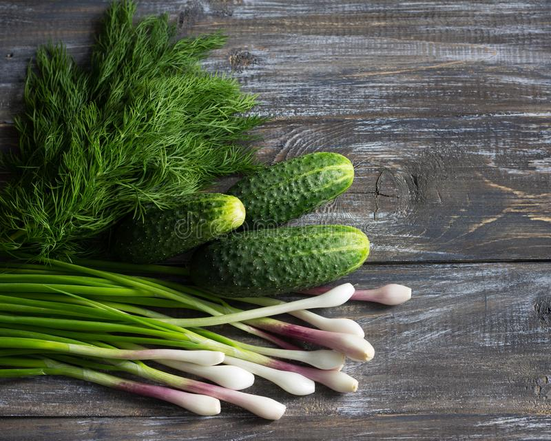 Fresh cucumbers, green onions and dill for salad on a wooden surface stock images