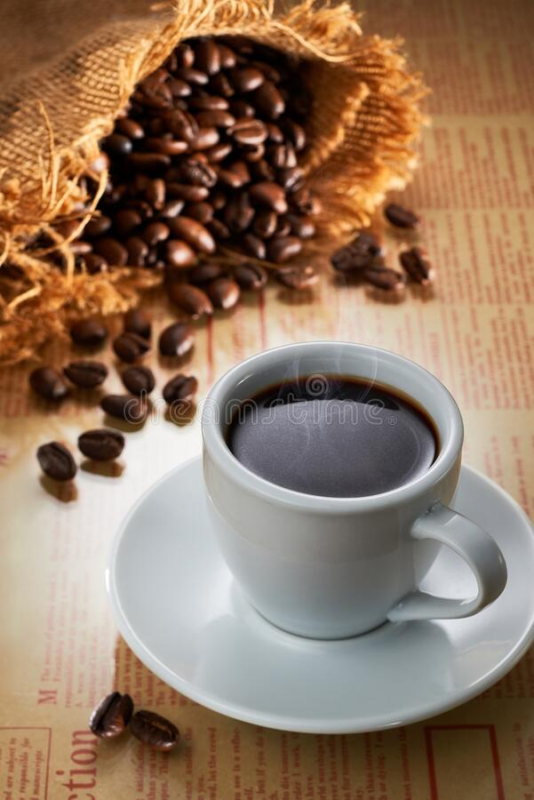 Fresh cup of black coffee stock images