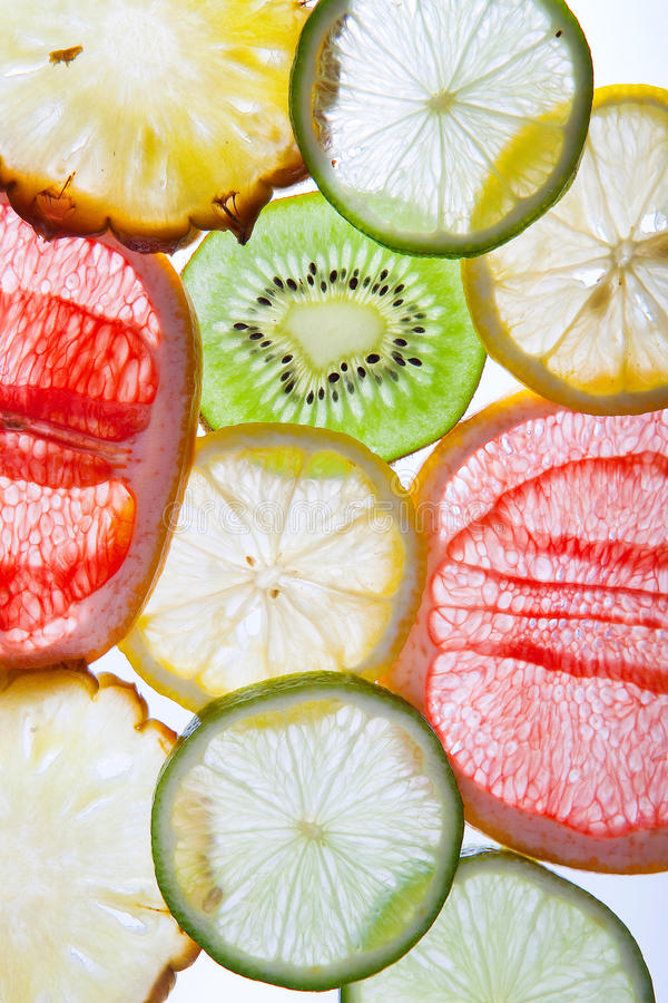 Fresh cut fruit. On a white background stock images