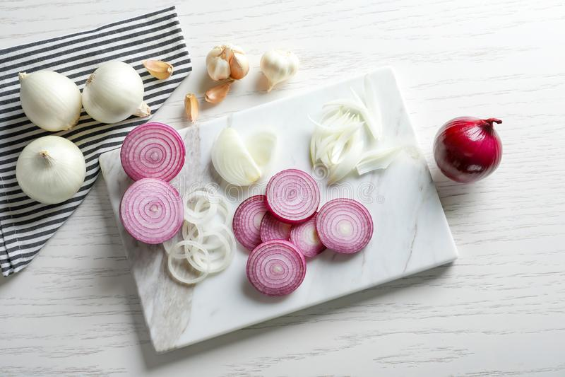 Fresh cut onion stock images